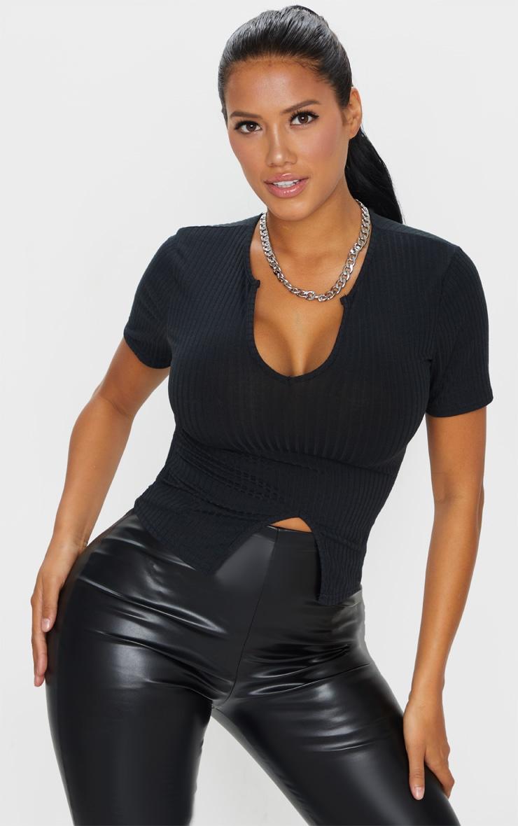 Shape Black Rib Short Sleeve Split Detail Top 3