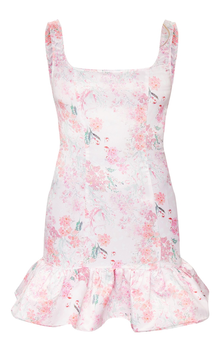 Pink Floral Print Satin Sleeveless Frill Hem Bodycon Dress 5