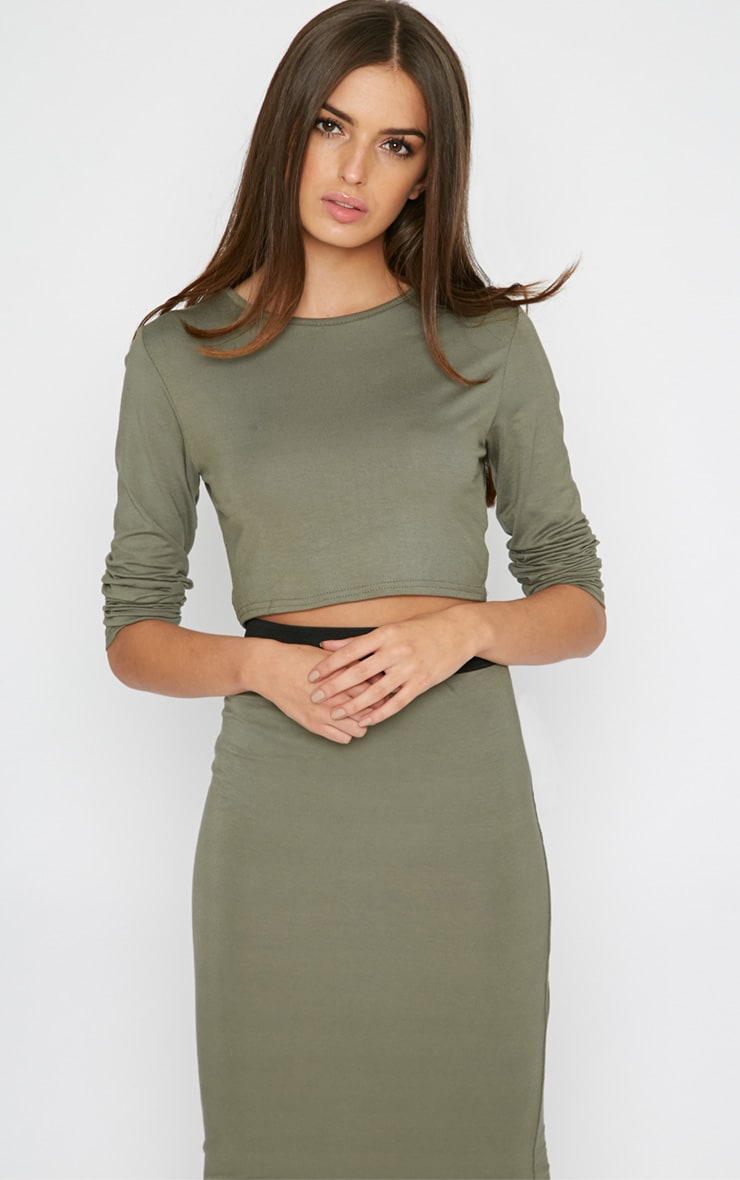 Una Khaki Long Sleeved Crop Top  4