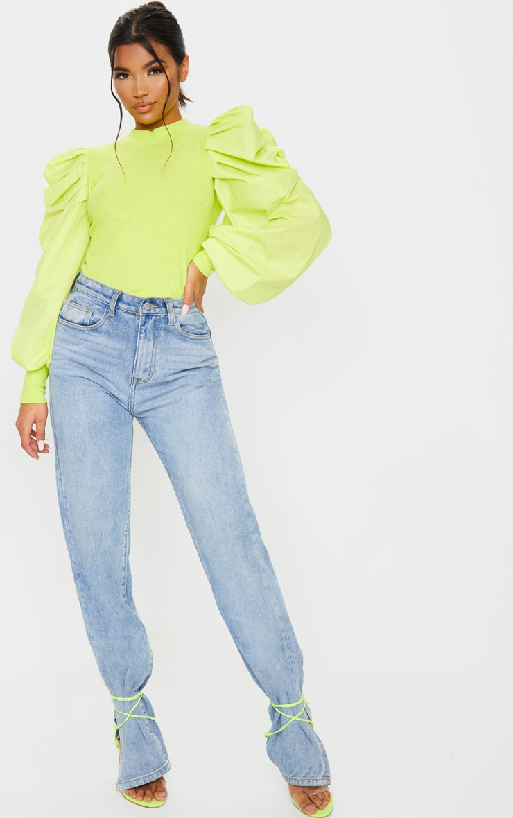 Lime Green Pleated Sleeve Jersey Rib Top 3