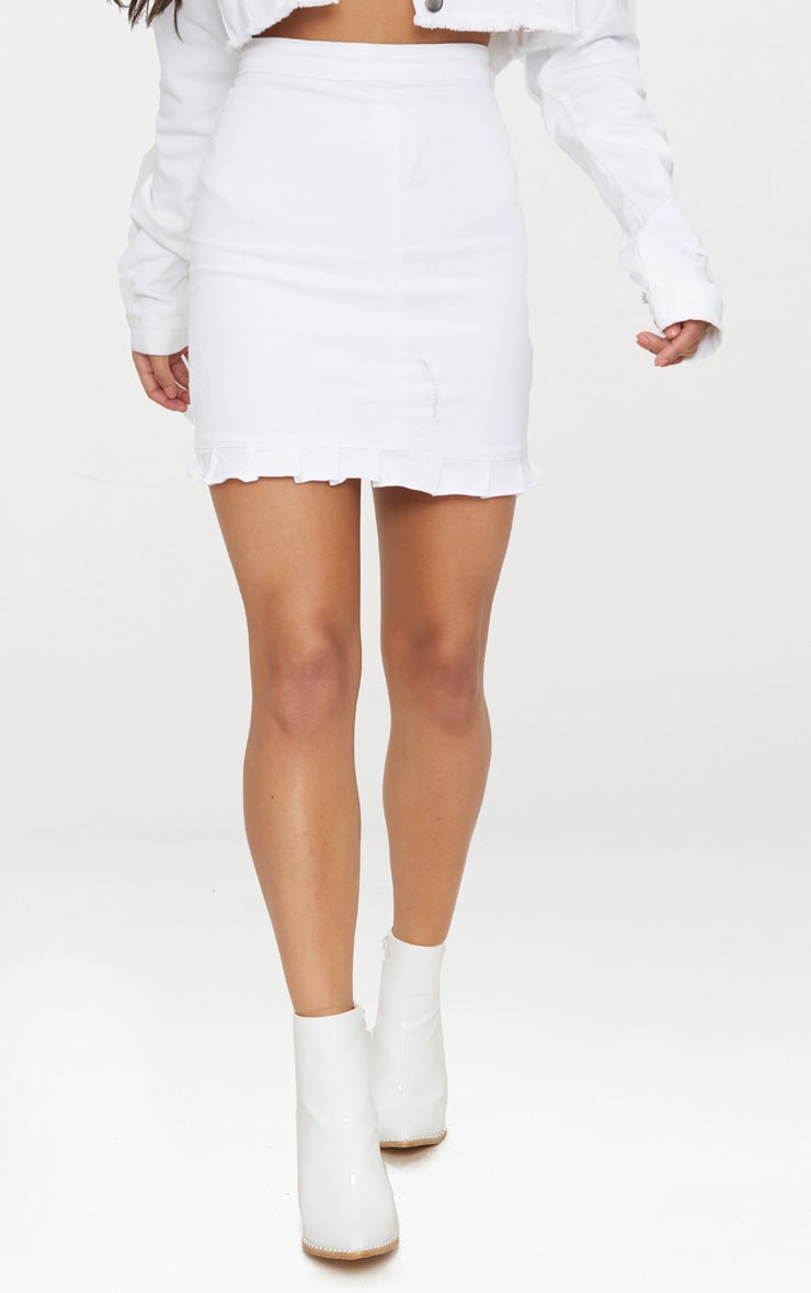White Ruffle Hem Denim Skirt 2