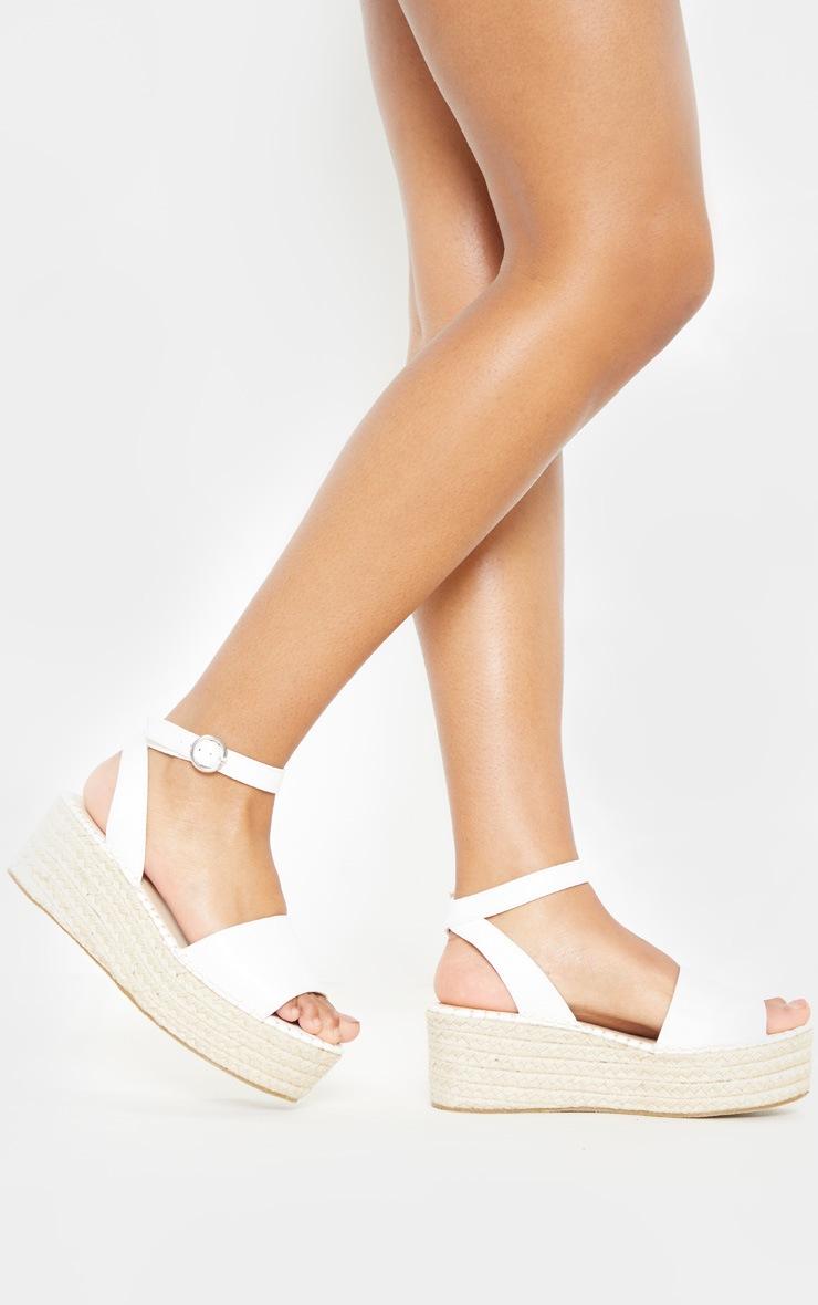 White Snake Embossed Espadrille Flatform Sandal 3