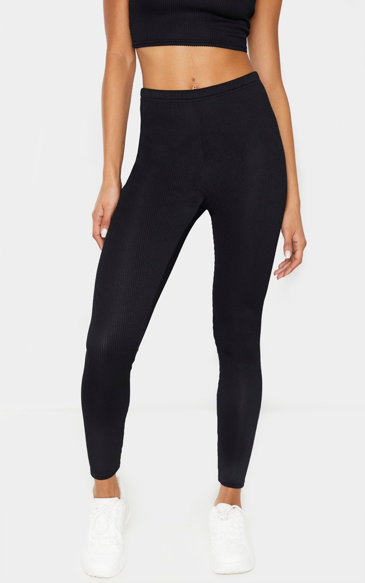 Black Crinkle Rib High Waisted Legging 2