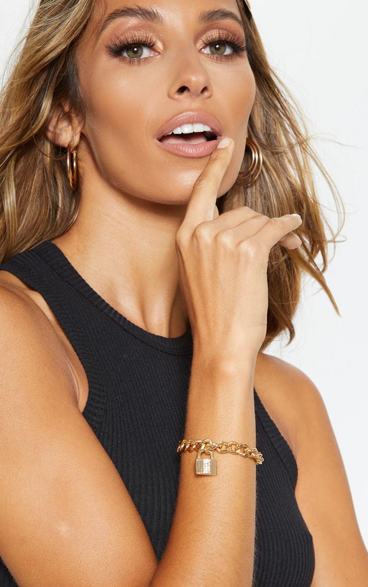 Gold Chunky Chain Diamante Padlock Bracelet 1