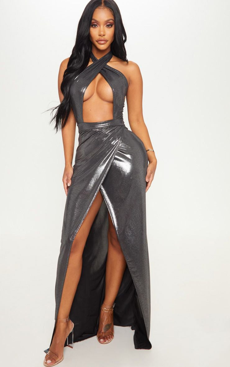 Shape Silver Metallic Wrap Over Plunge Maxi Dress 1