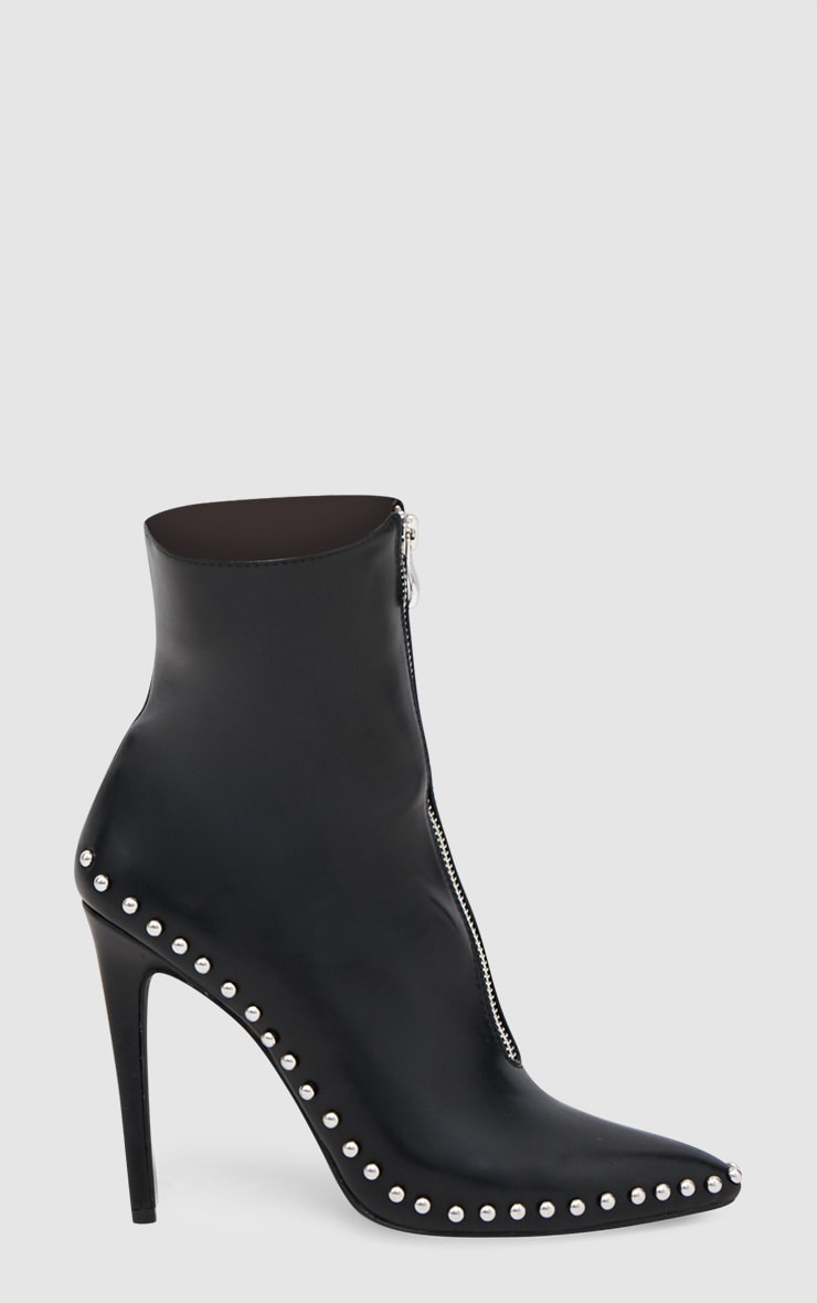 Black PU Studded Zip Pointy Ankle Boots 3