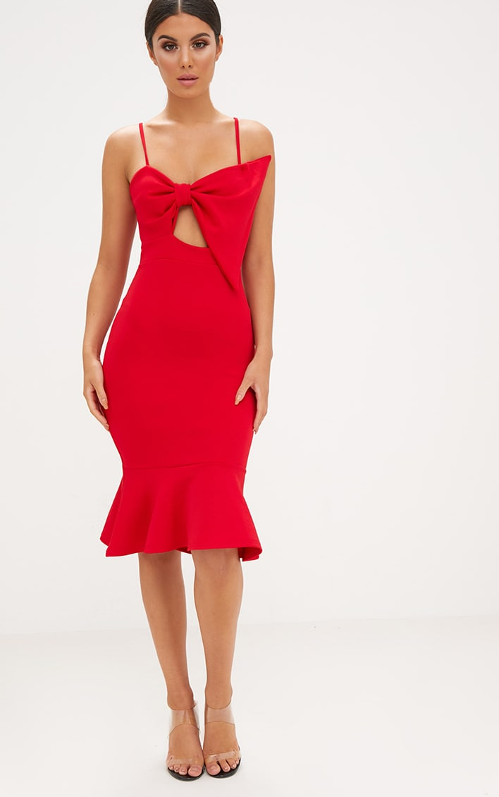 Red Strappy Bow Detail Fishtail Midi Dress 4