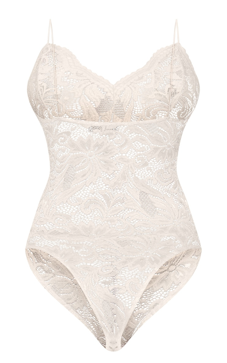 Tall Nude Sheer Lace Bodysuit 5