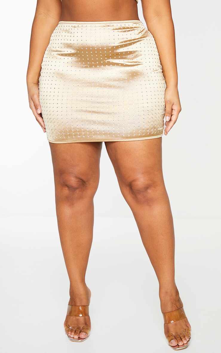 Plus Gold Disco Diamante Mini Skirt 2