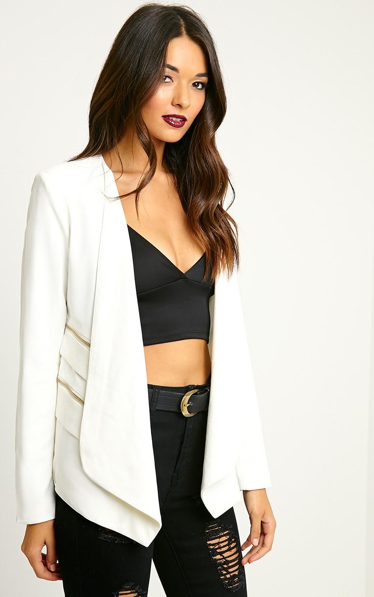 Carlina Cream Zip Pocket Blazer 4