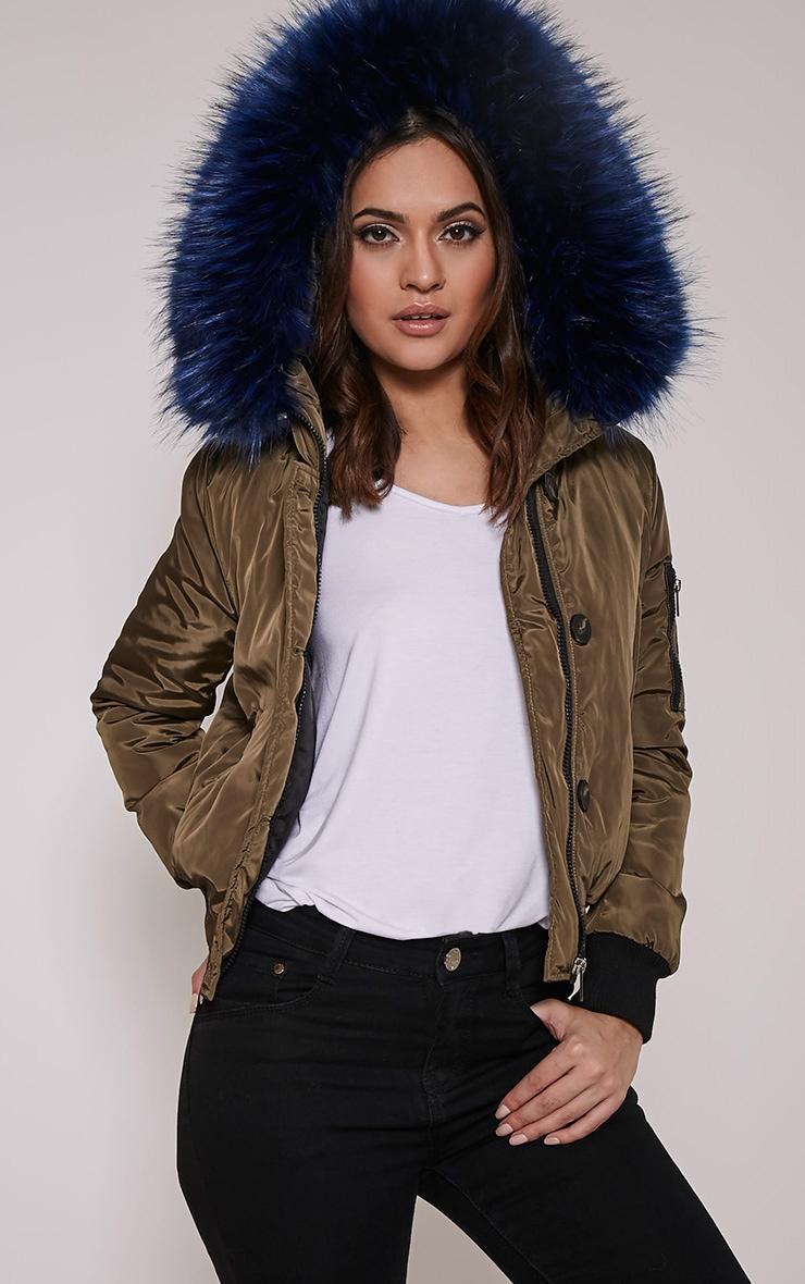 Lara Blue Premium Faux Fur Lined Crop Parka 1