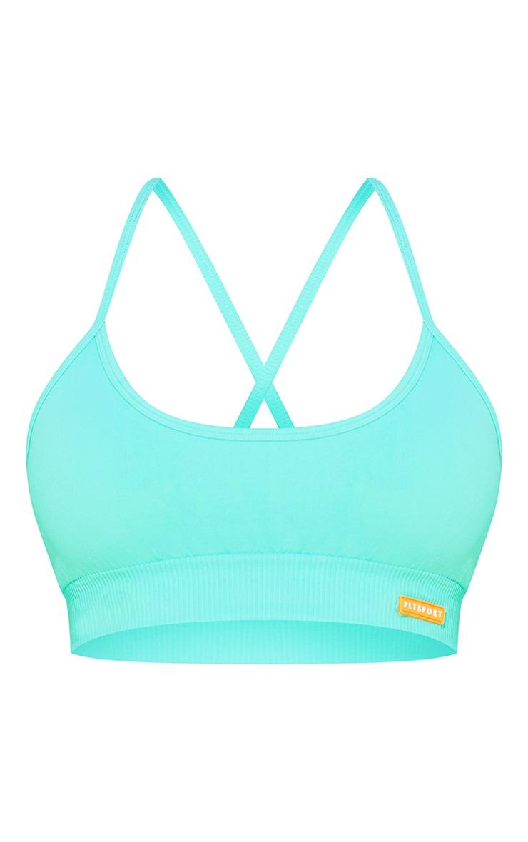 PRETTYLITTLETHING Turquoise Badge Cross Back Seamless Sports Bra 5