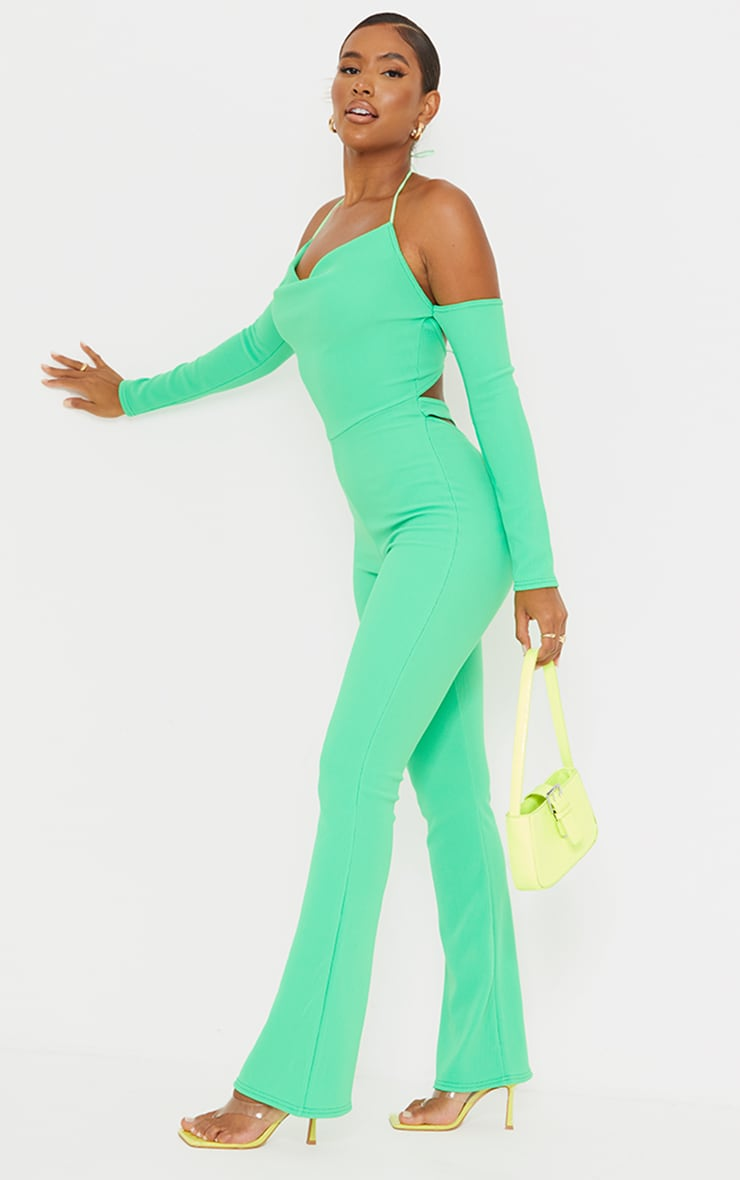 Recycled Bright Green Rib Cowl Neck Long Sleeve Thong Back Jumpsuit 3
