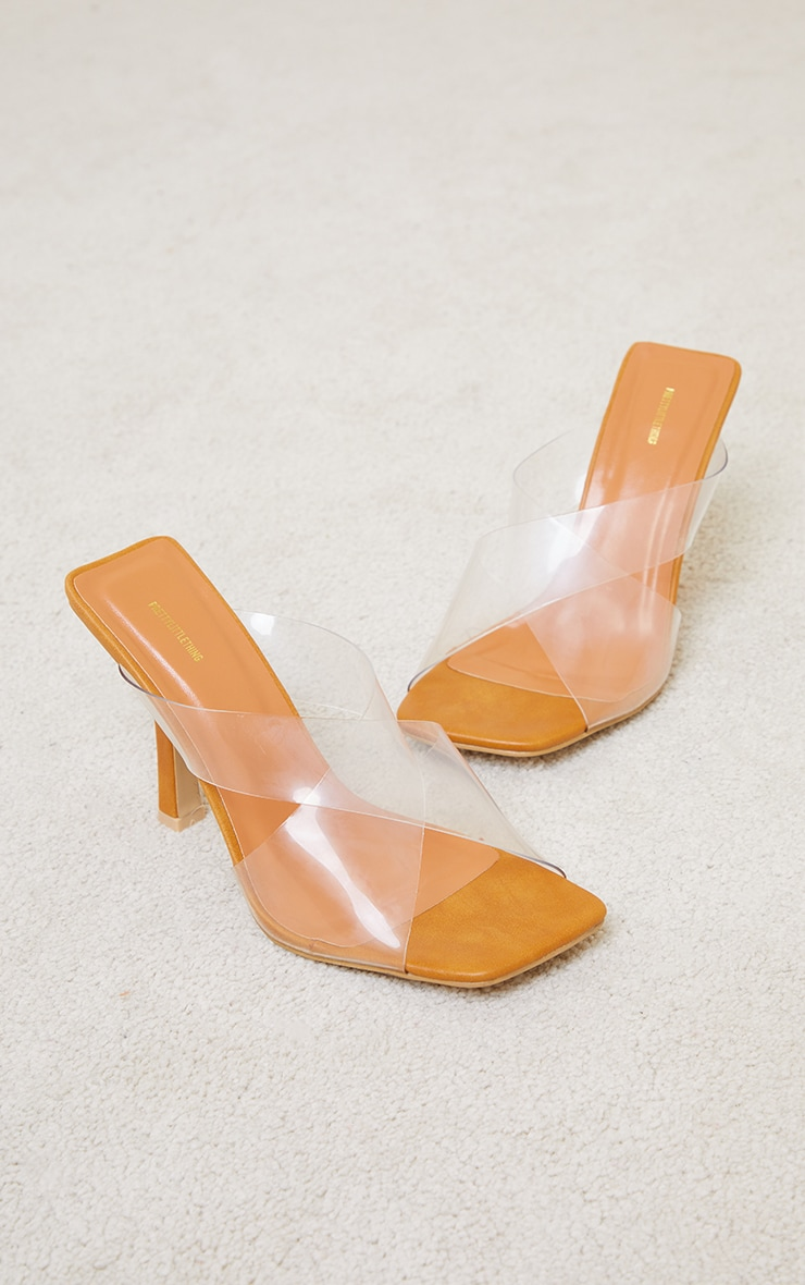 Sand Wide Fit Clear Cross Over Twin Strap Square Toe Mule Heels 3