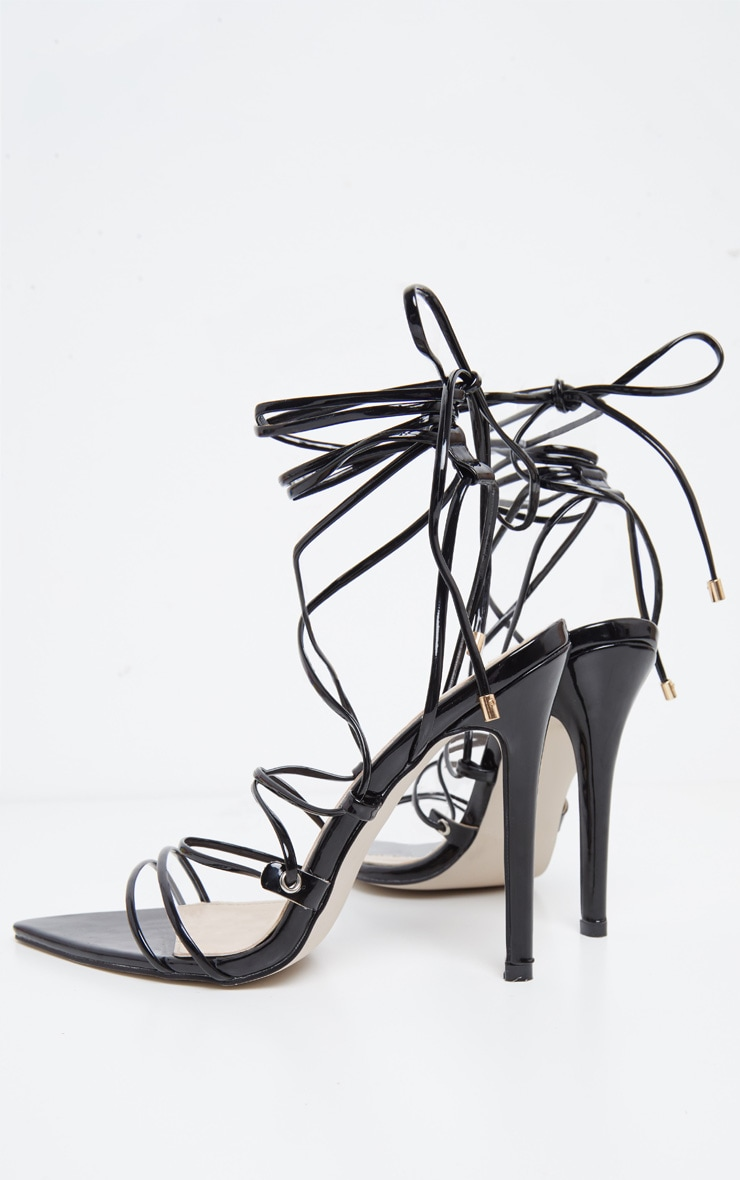 Black Strappy Gladiator Point Toe Heel 4