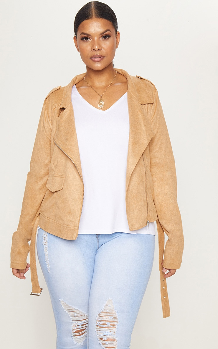 Plus Faux Suede Biker Jacket 1
