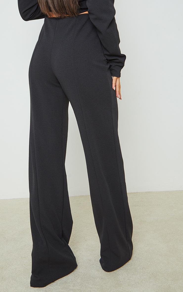 Black Crepe Seam Front Wide Leg Pants 3