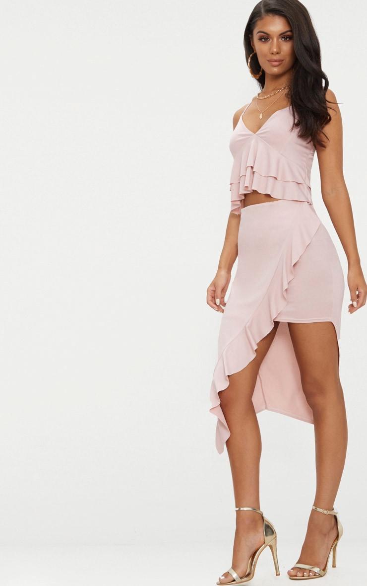 jupe mi longue rose p le style portefeuille volants jupes. Black Bedroom Furniture Sets. Home Design Ideas