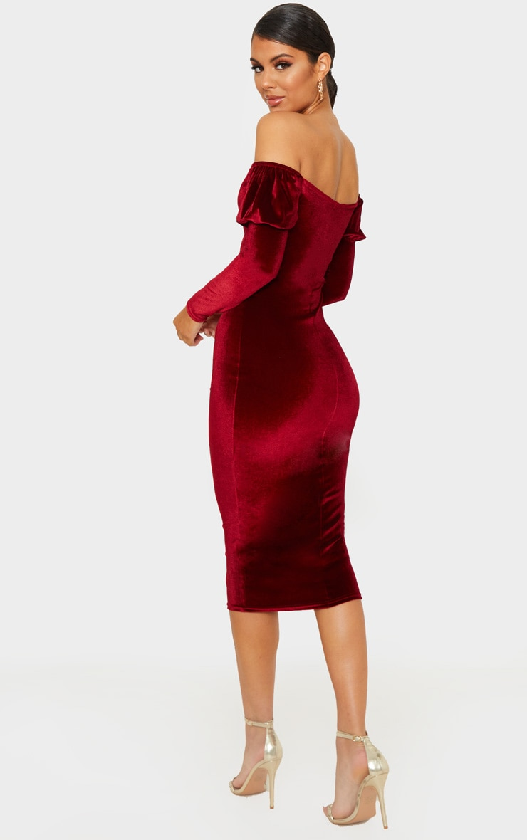 Burgundy Velvet V Bar Puff Sleeve Midi Dress 2