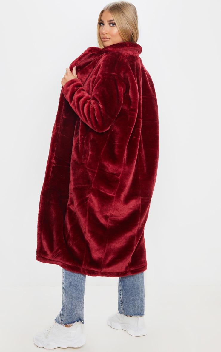Burgundy Large Lapel Midaxi Faux Fur Coat 2
