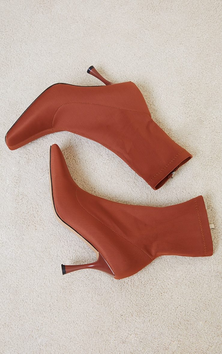 Chocolate Lycra Square Toe Mid Heel Sock Boots 3