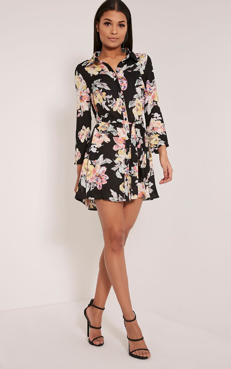 Halina Black Floral Shirt Dress 1