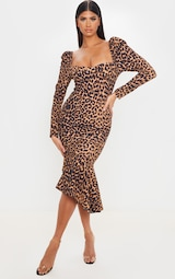 Tan Leopard Print Square Neck Frill Hem Midi Dress 1