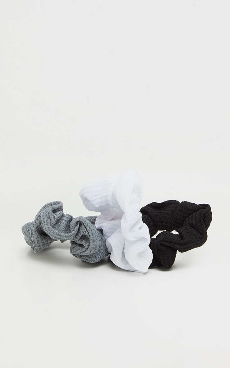Black Grey And White Three Pack Scrunchie 1