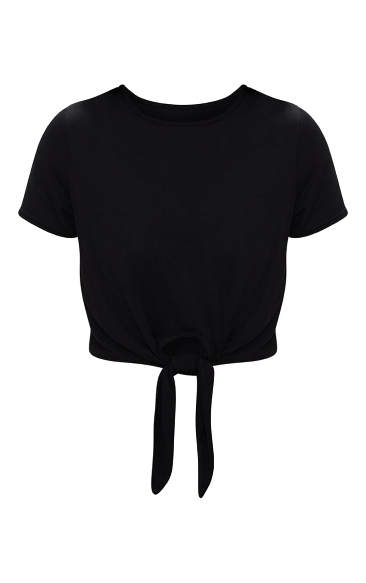 Black Jersey Short Sleeve Tie Front T Shirt  3