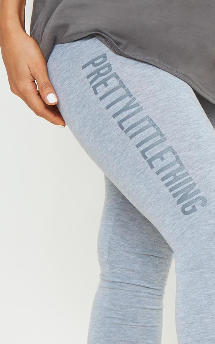 PRETTYLITTLETHING Grey Logo Leggings 4