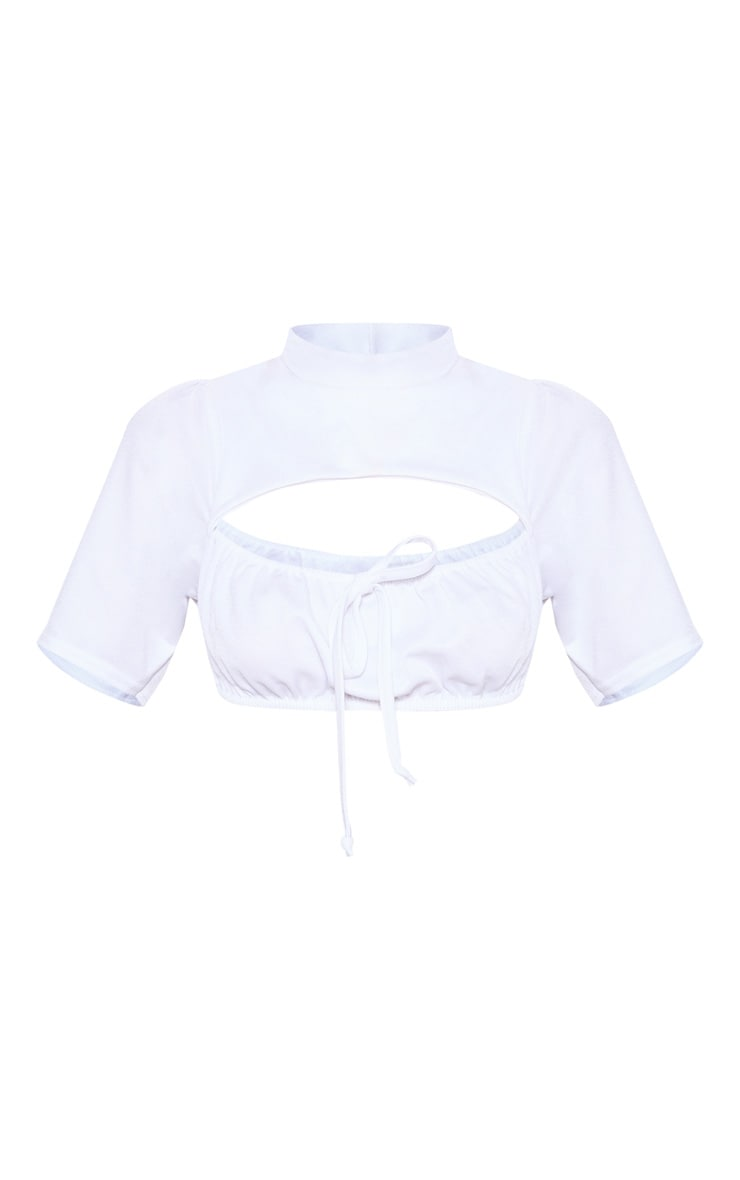 Petite White High Neck Ruched Detail Crop Top 3