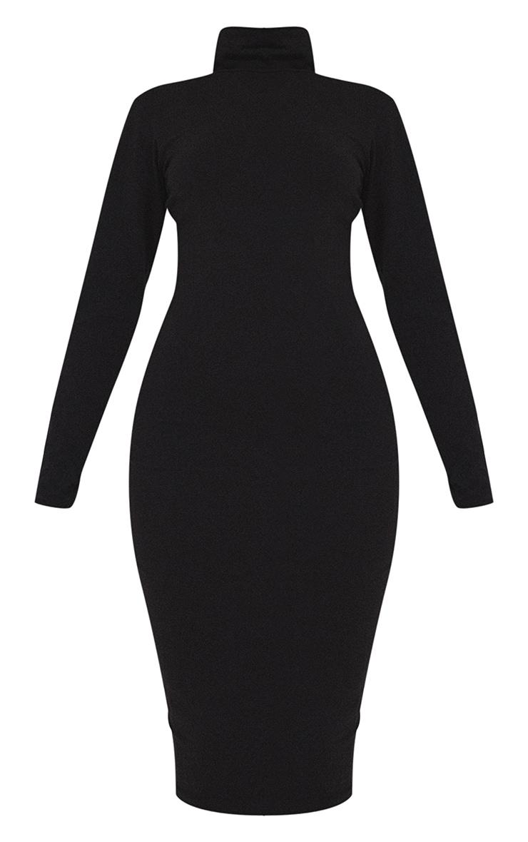Essential Basic Black Cotton Blend Roll Neck Midi Dress 5