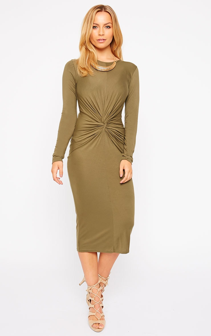 Kenna Khaki Knot Front Midi Dress 1