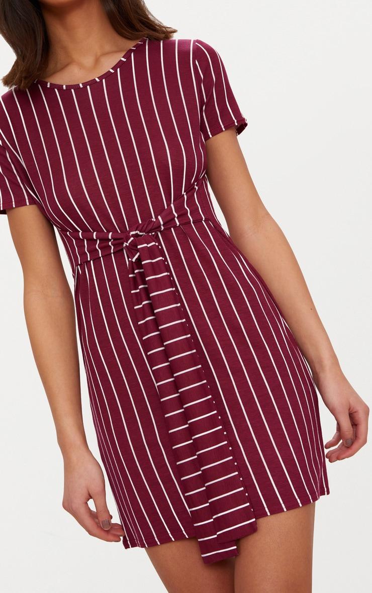 Burgundy Stripe Tie Waist T Shirt Dress 5