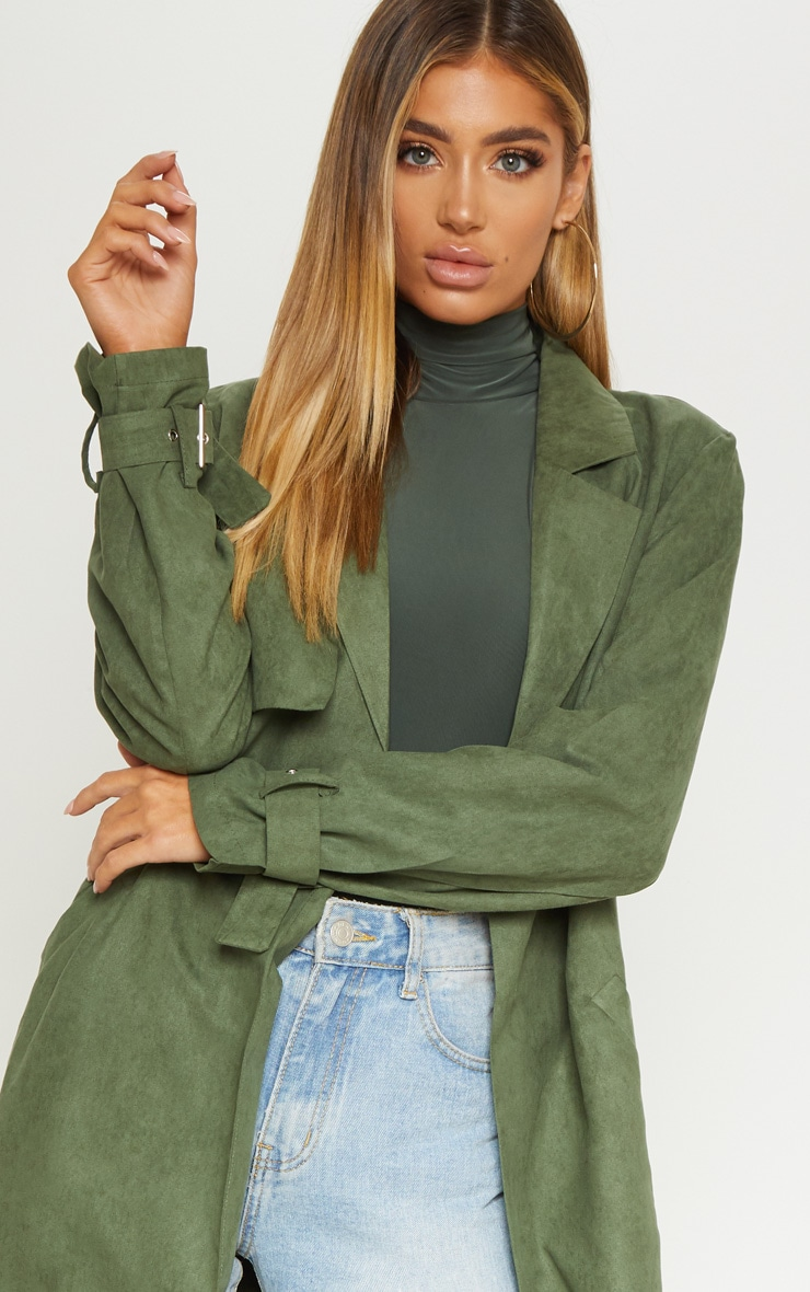 Khaki Faux Suede Trench  4