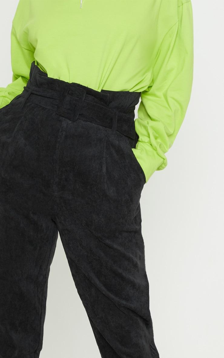 Petite Black Cord Paperbag Belted Pants 5