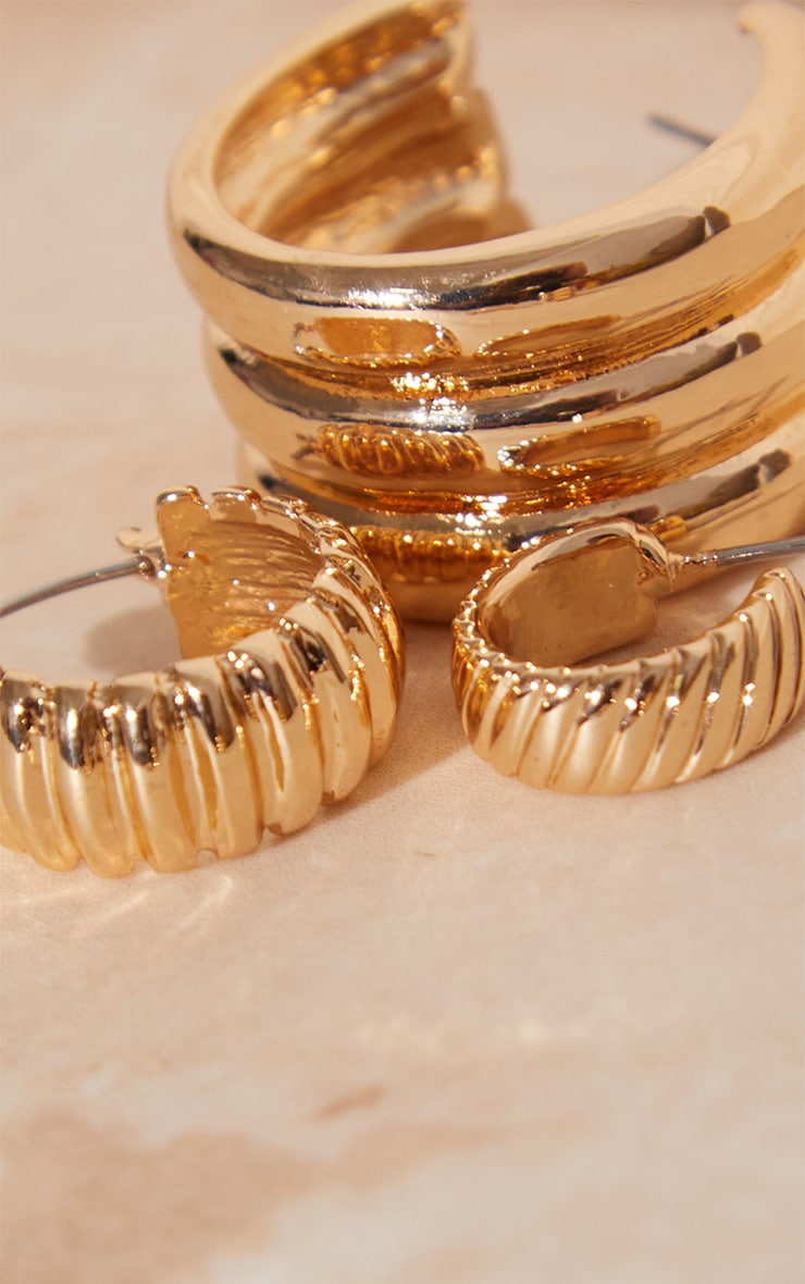 Gold Ribbed 3 Pack Assorted Hoop Earrings 3