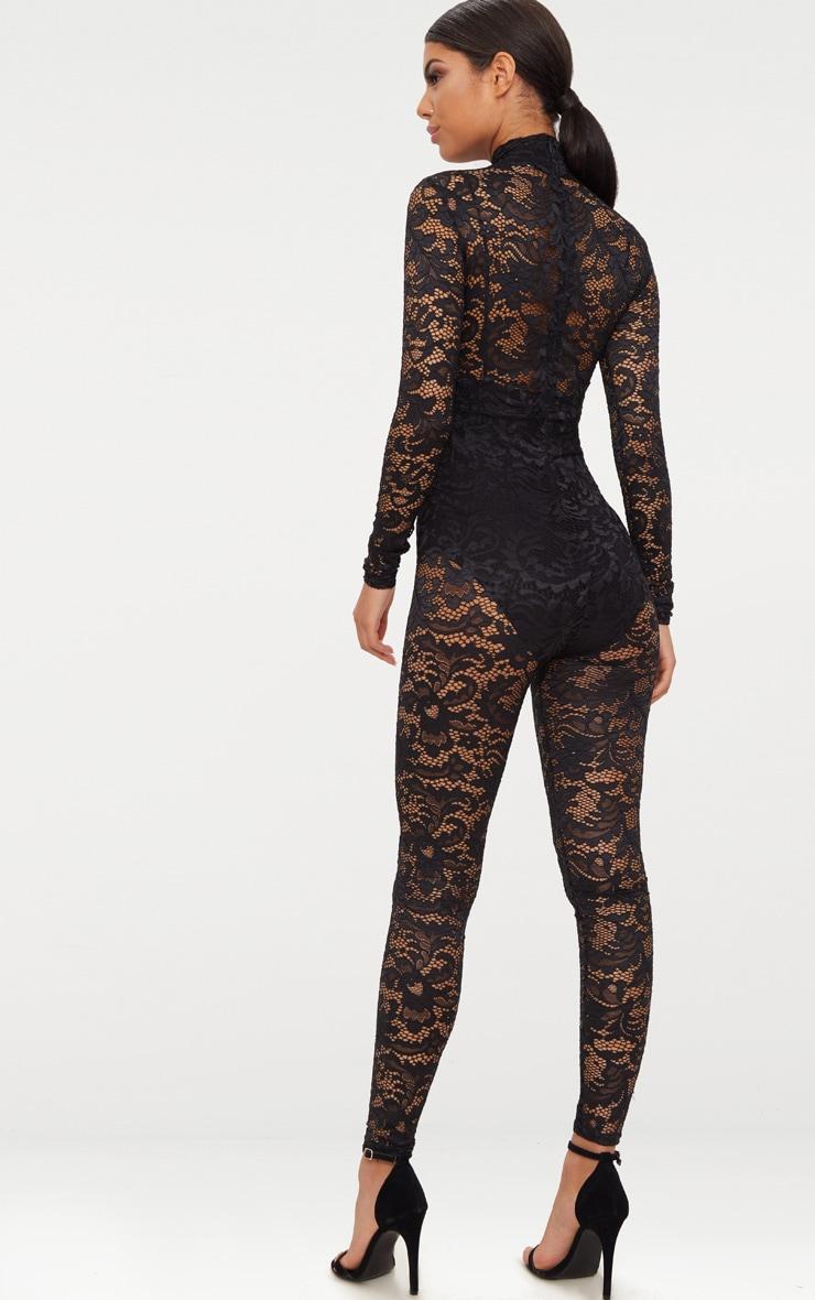 Black Lace High Neck Jumpsuit 2
