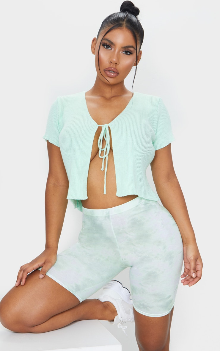 Sage Green Tie Dye Cycle Shorts