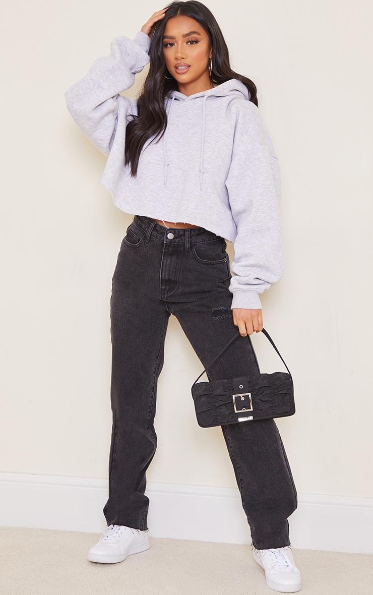 Petite Knee Rip Black Wash Long Leg Straight Jeans 1