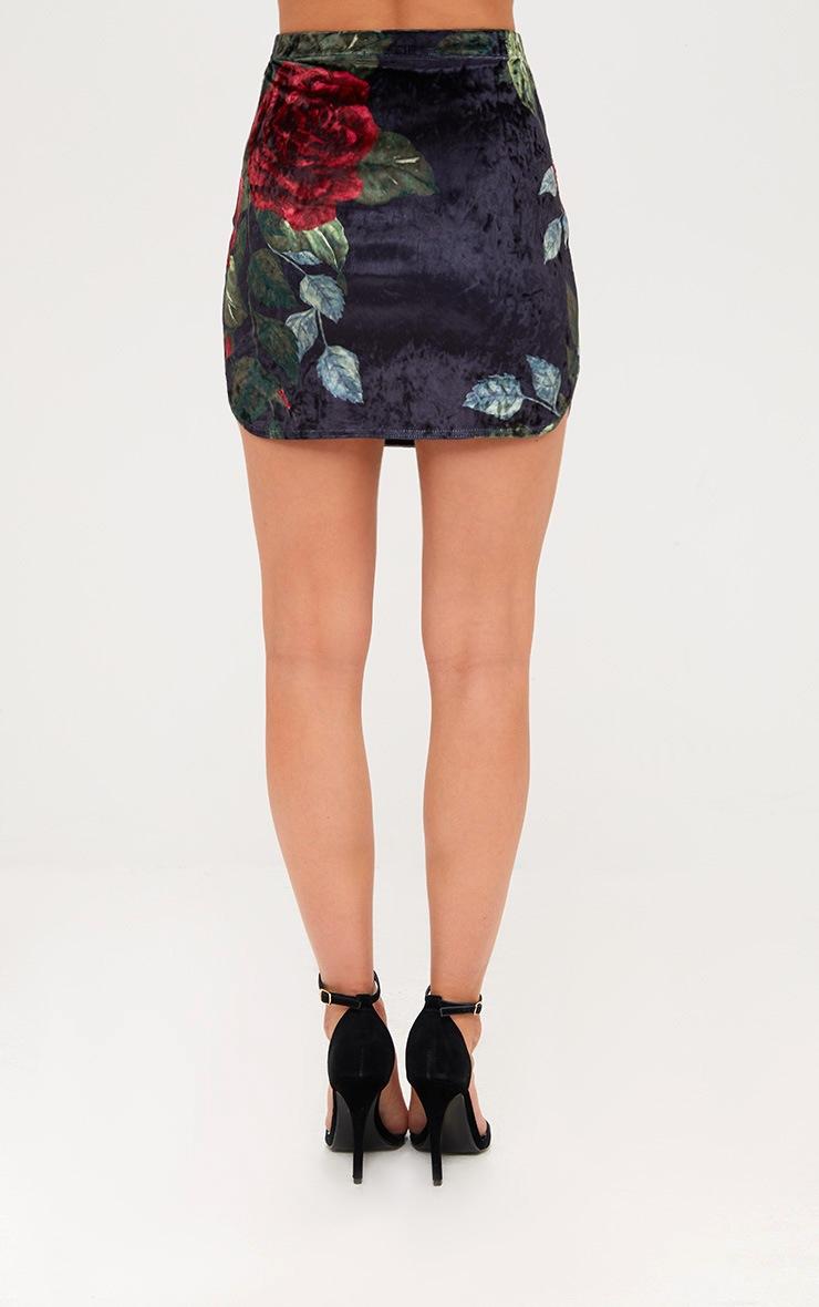 Black Floral Print Velvet Mini Skirt 4