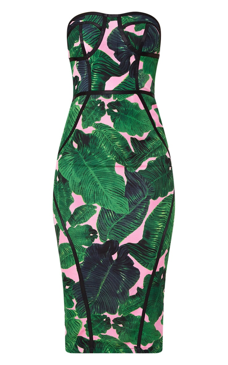Pink Tropical Print Midi Dress 4