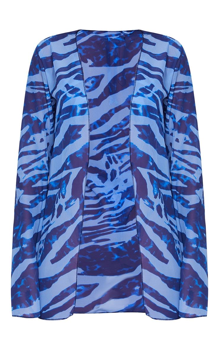 Blue Zebra Chiffon Tie Front Floaty Beach Shirt 5
