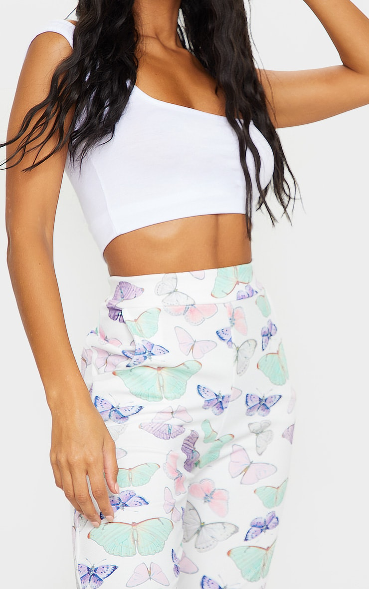 White Butterfly Print Skinny Pants 4