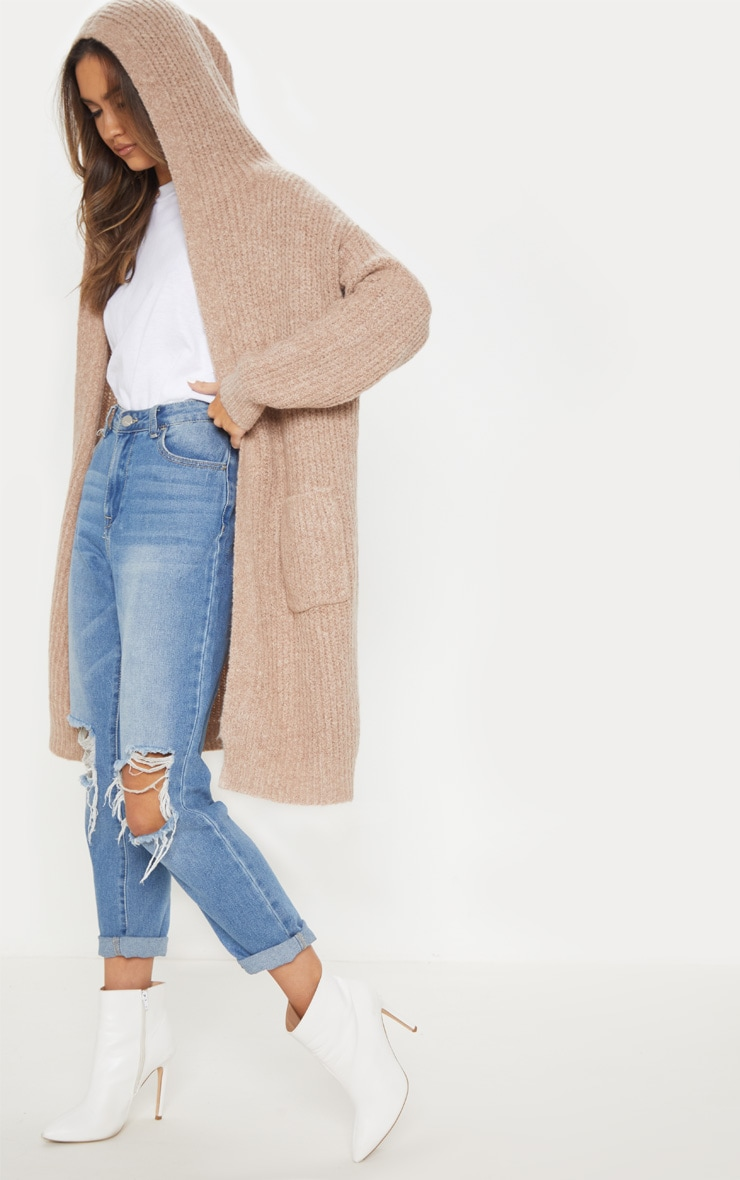 Taupe Hooded Cardigan