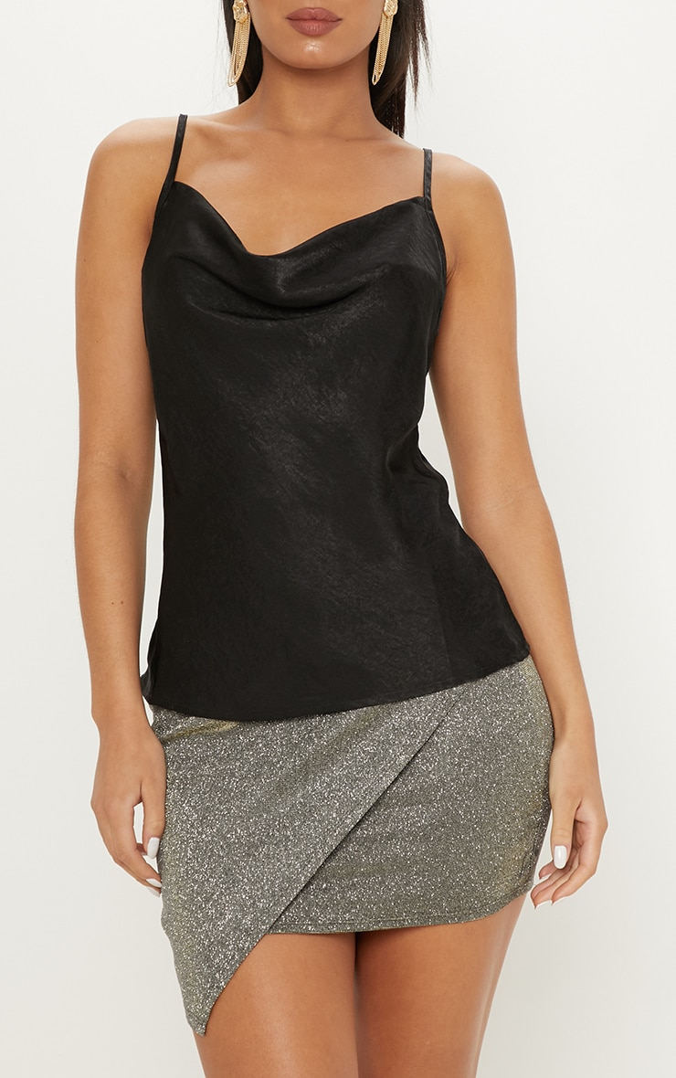 Black Hammered Satin Cowl Cami 5