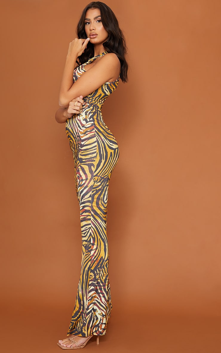 Tall  Brown Tiger Print Marble Print Slinky Cut Out  Maxi Dress 3