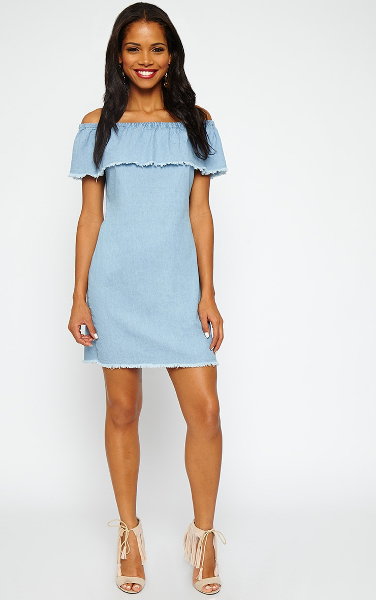 Eunice Blue Denim Bardot Dress 3