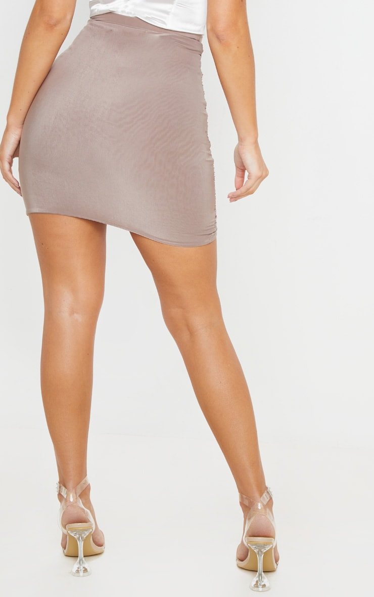 Sabina Taupe Ruched Layered Slinky Mini Skirt 4