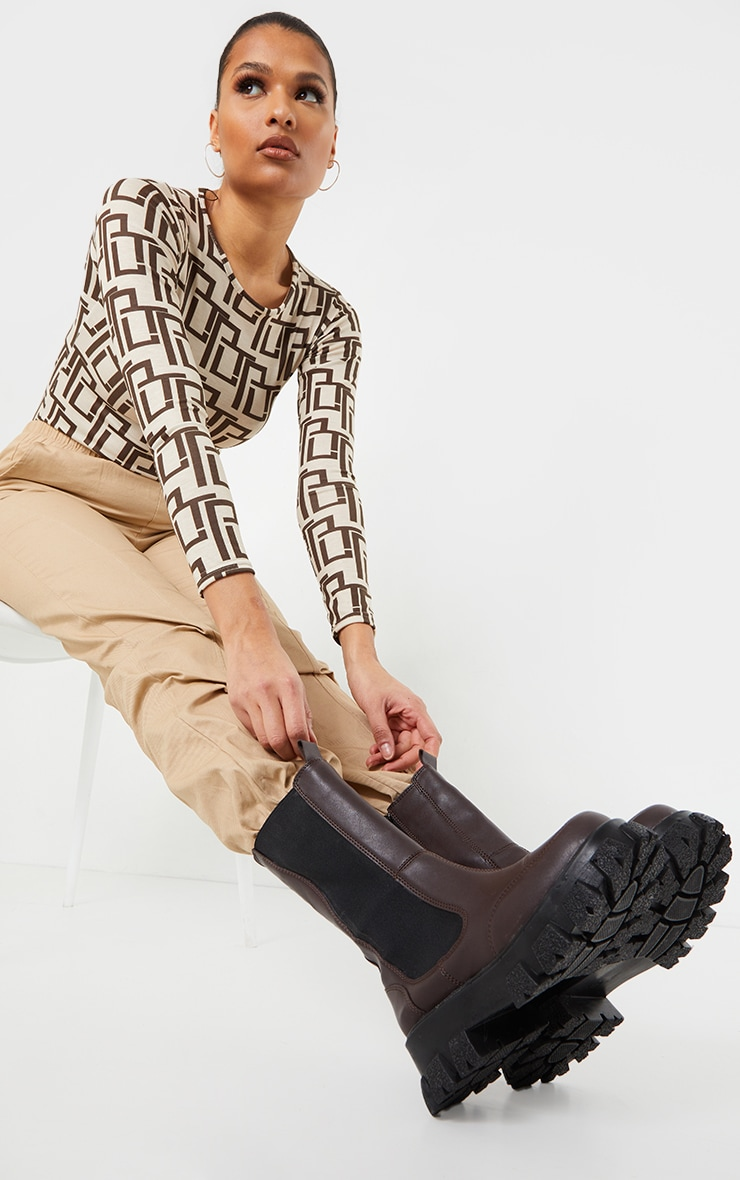 Chocolate Chunky Cleated Sole Calf High Chelsea Boots 1